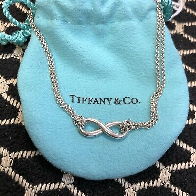 """TIFFANY & Co Sterling Silver Infinity Necklace Double Chain 16"""" Long"""