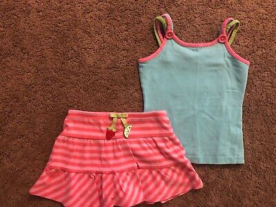 EUC Gymboree Tutti Fruity Pink Striped Skirt Blue & Pink Strap Top Buttons 3-4T