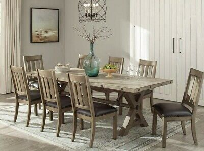 Northridge Home Booker Contemporary Wooden Extending Dining Room Table +8 Chairs