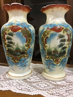 "Large Antique/Vintage Pair 10 3/4"" Hand Painted Bristol Glass Victorian Vases"