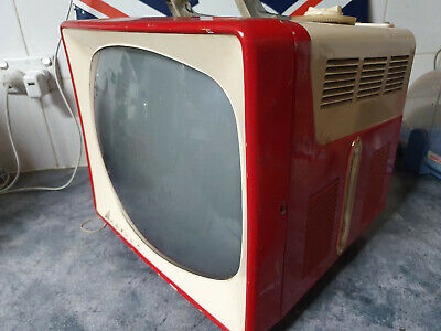 Vintage Red Retro 70s TV Admiral Portable  television
