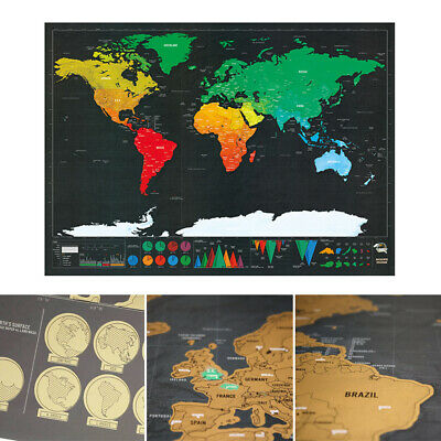 Large Scratch Off World Map Poster Personalized Journal Map Wall Decor Gifts New