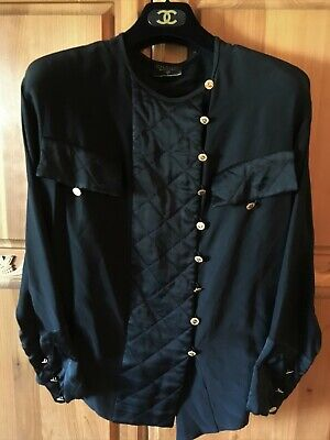 Chanel Black Silk Cc Buttons Quilted Blouse Top Shirt Small