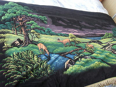 "Antique/Vintage Large Wallhanging""Painted on Thin Black velvet""App59 inch X32inc"