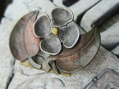 ANTIQUE Early Hand Made STERLING SILVER Copper Brass FLOWER Pin Brooch