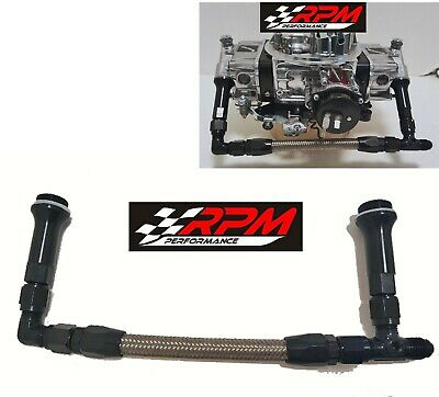 8AN Barry Grant Demon Carb Carburetor Dual Feed Fuel Line Kit Braided SILVER F8