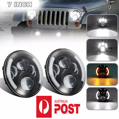 "Pair 20000LM 7"" LED Headlight w/White DRL &Amber Turn Signal For Jeep Wrangler"