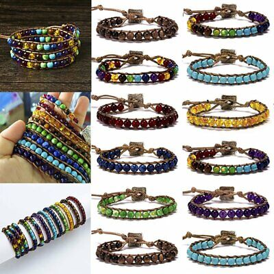 7 Chakra Natural Stone Tube Bead Bracelet Rope Wrap Braided Yoga Bangle Jewelry