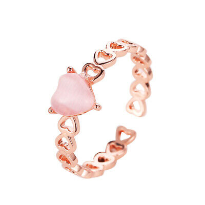 2-color Women Literary Hollow Out Love Small Cat Eye Stone Heart Open Ring