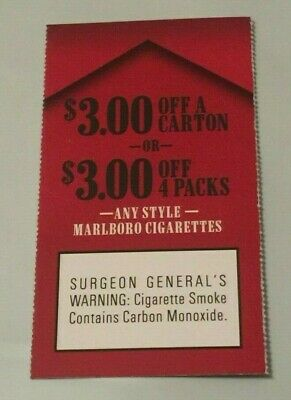 (1) $3.00 off a carton or 4 packs ANY Marlboro Cigarettes Coupons exp 10/24/19