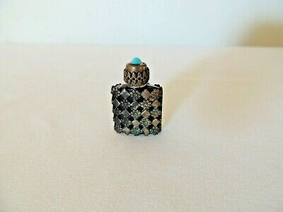Antique FRANCE Sterling Silver Cabochon Perfume Scent Bottle Cobal Blue Glass