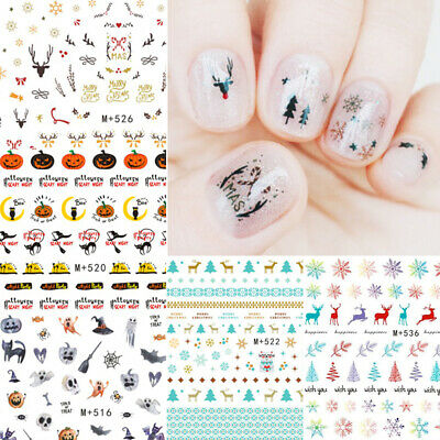 Christmas Halloween Nail Art Water Decals Transfer Stickers Decoration DIY Tips