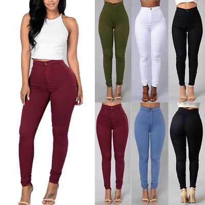 US Pencil Jeans Women Lady Stretch Casual Denim Skinny Pants High Waist Trousers