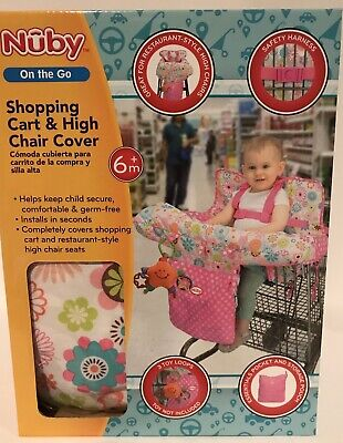 Nuby Baby Shopping Cart High Chair Cover Girls Floral Toddler Seat Pink Safety