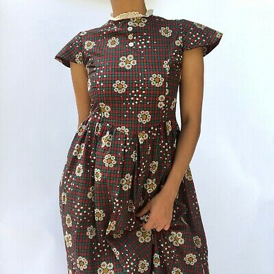 Vintage 50s - 60s Daisy Flock Printed Plaid Fabric Cap Sleeve Dress