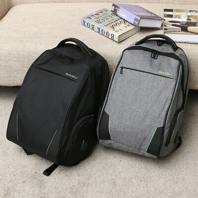 15.6 Anti-theft Men USB Charger School Bag Laptop Backpack Notebook Travel Pack