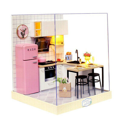 1:24 Wooden Dollhouse Miniatures DIY Kitchen Kit with Dust Cover & LED Light