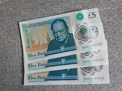*UNCIRCULATED*   3x Consecutive AA01 £5 Bank of England Polymer