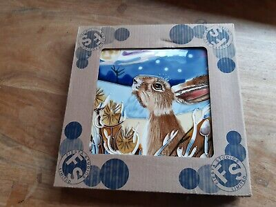 Fiesta Studio Limited - Hand painted Hare Ceramic tile #05856 - New in box