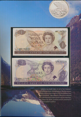 New Zealand Coins & Banknotes In Rare Commemorative Folder Last 4 Digits Matched