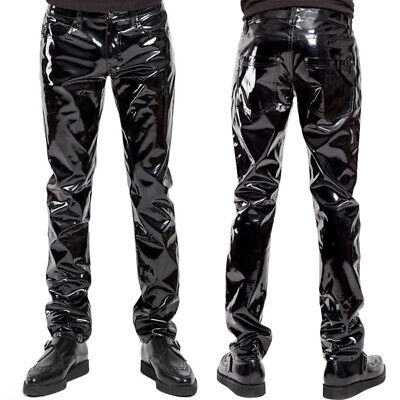 Men Sexy Patent Leather Zip Trousers Wetlook Clubwear Slim Fit Stage Long Pants