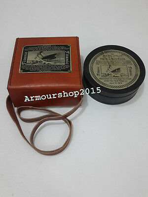 Beautiful Vintage Nautical Brass Brunton Compass Leather Box Collectible Gift