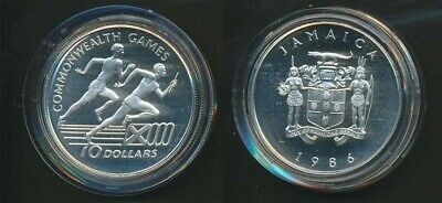 Jamaica: 1986 Scotland Commonwealth Game $10 Silver Crown, Relay Race