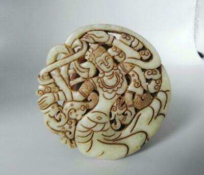 Chinese Hand carved exquisite old jade Amulet Pendant