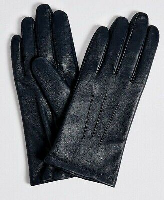 New Ladies Genuine Fine Leather Gloves Navy Marks And Spencer Size Small Medium