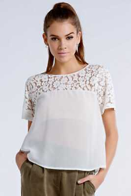 Girls On Film White Floral Lace Bow Back Top Uk 8 Ln098 Mm 02