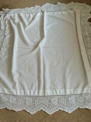 "Vintage Square White Cotton Tablecloth With Crochet Lace Border 46"" x 46"" 1900s"