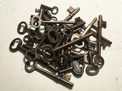 Antique Cabinet And Skeleton Keys Brass And Steel (30) Original+Beautiful Lot!