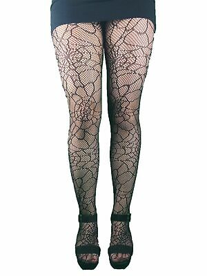 Black Fishnet Tights With Cobweb Pattern- All Over Halloween Witch Goth