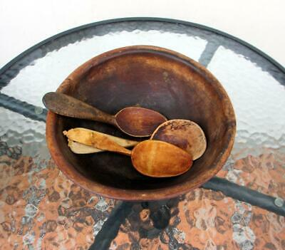 Antique 1800s Original RARE Swedish Allmoge Wooden Bowl and three Spoons.