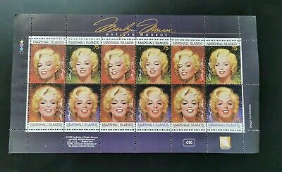 Marilyn Monroe Stamps Commemoration Marshall Islands Collectors Item