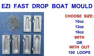 12oz QUICK DROP LEAD WEIGHT MOULD+200 LOOPS FOR SEA BOAT ROD FISHING LURES RIGS