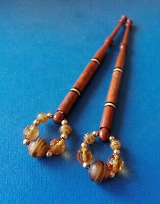 Pair Wood Lace Bobbins with Section of Varigated Wood & Stipes. Spangles.