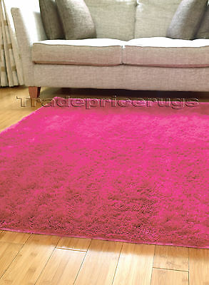 Small - Extra Large Soft Shiny Silky Bright Pink Shimmer Luxury Shaggy Rug