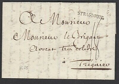 Marque Strasbourg Bas Rhin 1779 Ln°25 Treguier Cotes Du Nord Lettre Cover France