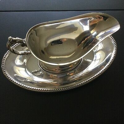 Vintage Silver Plated Large Sauce/Gravy Boat On Saucer
