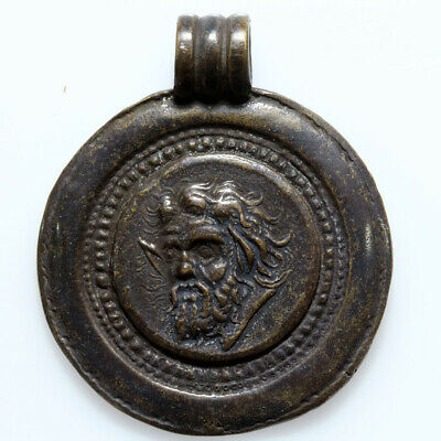 Very Interest Undated Bronze Pendant With Pan Face And Griffin Pendant-Wearable