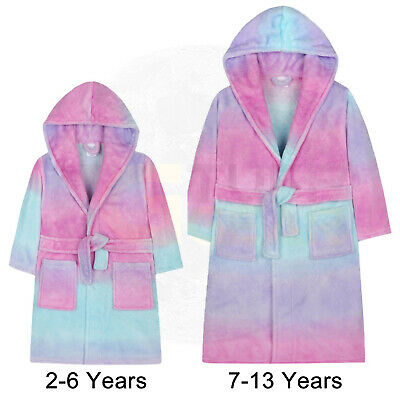 Girls Ombre Dressing Gown Hooded Fleece Soft Rainbow Bath Robe Sherbert Pastel