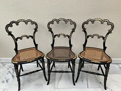 Set of 3 Antique Victorian Ebonised Bergere Cane Salon Chairs (Good Condition)