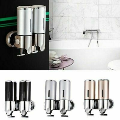 1L Stainless Steel Wall Mounted Dual Soap Dispenser Leakproof Shampoo Container