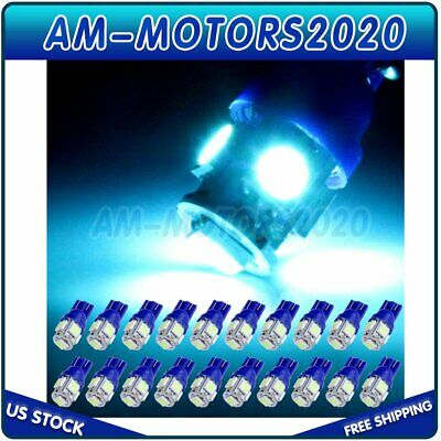 20X Ice Blue T10 5050SMD 5LED License Plate Light Bulb For Nissan/Jeep 168 194