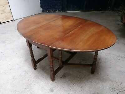 Quality Solid Oak ~Turned Leg ~Oval Drop Leaf Table ~Dining Table~ Heat Pads