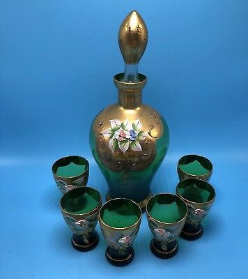 Bohemian Green Glass Decanter & 6 Glasses With Gold & Raised Enamel Flowers Trim