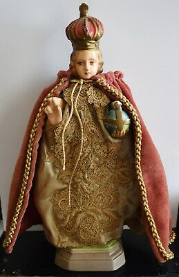 "Antique Catholic Monk Statue 10 3/4"" Chalkware C.S.145 Italy"