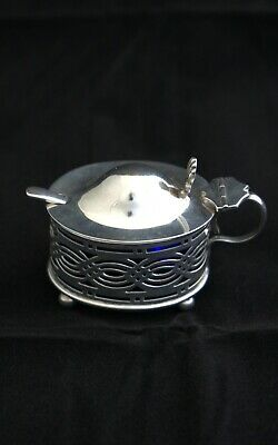 Silver Mustard (Birmingham 1902) with blue glass liner & spoon (Sheffield 1925)