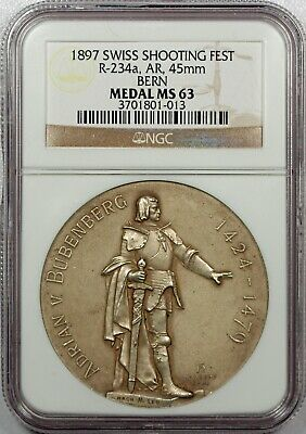 SWITZERLAND BERN  R 234a SILVER SHOOTING MEDAL 1897... NGC MS63